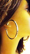 MEDIUM HOOP EARRINGS 2 INCH HOOP SHINY BAR SILVER TONE HOOP EARRINGS