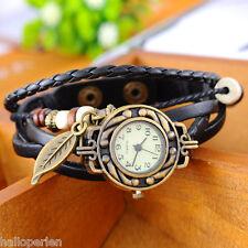HP 1PC Fashion Leaf Pendant Leather Weave Women Ladies Bracelet Wrist Watch