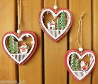 Set of 3 Christmas Tree Decorations Red Carved Hearts Santa Reindeer & Snowman