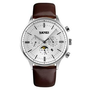 SKMEI Mens Luxury Watch Rose Gold Or Silver Sun Moon Dial Brown Leather UK