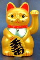 Gold Winkekatze Katze Maneki Neko Glücksbringer Japan Manga Asien Souvenir 15cm