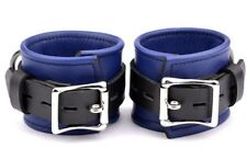 WRIST CUFFS PREMIUM STUNNING Handcrafted Leather DARK BLUE Heavy Duty CF3WDBlu