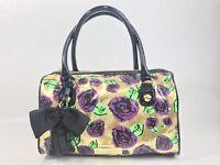 Betsey Johnson Satchel Purse Handbag Gold Metallic Purple Roses Black Bow