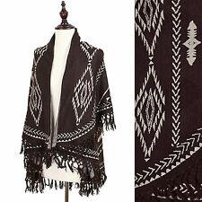 New Western Aztec Pattern Sweater/Vest/Wrap Poncho w/ Shawl Top- Chocolate