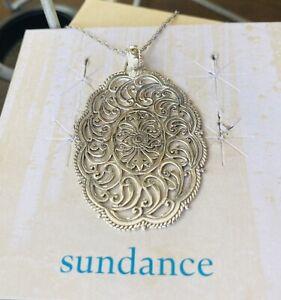 NEW Sundance Catalog Sterling Silver Medallion Pendant Chain Necklace $79