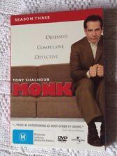 Monk : Season 3 (DVD, 2006, 4-Disc) R-2,4,5, LIKE NEW, FREE POST IN AUSTRALIA