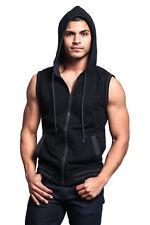 MEN'S Lightweight Sleeveless Gym Fitness Zipper Contrast Vest Hoodie Th890-A1H
