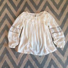 XL New ANTHROPOLOGIE Women's Boho Cream Prairie Peasant Lace Blouse Top LARGE
