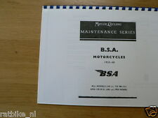 B0009 BSA---MOTORCYCLING MAINTANCE SERIES BSA---1935-40 ALL MODELS AND EX-WD M20