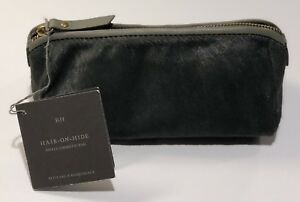 Restoration Hardware Hair on Hide Cosmetic bag Make Up Bag Coin Purse Gray - NEW