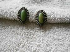Vintage Green Turquoise Stone Sterling Silver Screw Earrings 8.7 Grams