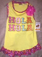 "SimplyDog Yellow ""Hola Hola"" with Flower Dress Size L Pet Dress"