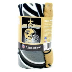 """NEW ORLEANS SAINTS FLEECE THROW BLANKET 50"""" x 60"""" OFFICIALLY LICENSED NFL"""
