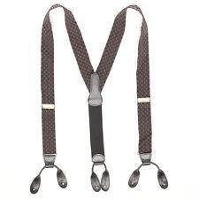 Coach Mens Braces Suspenders Brown Black Zig Zag White Dot Leather Button Tab