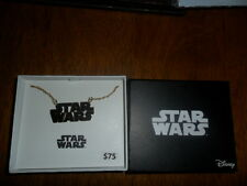 BRAND NEW Star Wars Logo Pendant Gold-Plated Neck Chain w/ Gift Box MSRP $75 HTF