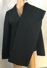 Ann Taylor Women's Pinstripe 2 Piece Suit Size 4 Black Signature Pants Blazer