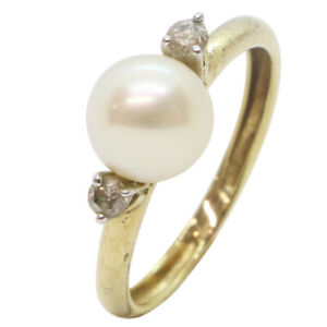 9ct Yellow Gold Fancy Pearl With Diamond 0.02ct Engagement Dress Ring