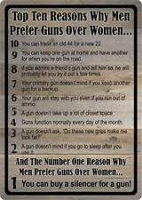 Top 10 Reasons Men Prefer Guns Over Women 2nd Amendment Metal Sign MT05