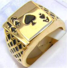 18K GOLD EP LUCKY ACE SPADES MENS CARD RING sz 12 or Y