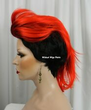 Way Cool MOHAWK Vivid WIG .. New Style!  Check it out!  Black Tipped in Red! *