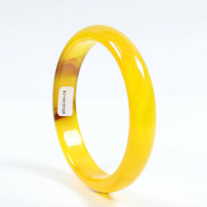 69mm Certified Natural Agate Chalcedony Yellow Brown Jade Bracelet Bangle Z2942