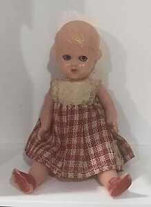 Vintage Miniature Celluloid Baby Doll  Blue Eyes Jointed Legs & Arms Italy