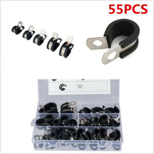 55Pcs Waterproof Rubber Lined Stainless Steel R Style Clamp Fit For Car Hose