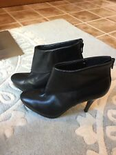 Steve Madden Black Leather Foldover Tricia Ankle Boots 11 Nice!