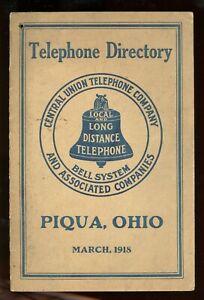 Telephone Directory= Central Union Telephone Co.-Ohio-Piqua-1918