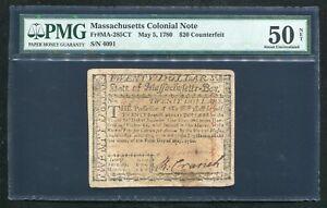 "MA-285CT MAY 5, 1780 $20 ""COUNTERFEIT"" MASSACHUSETTS COLONIAL NOTE PMG AU-50"
