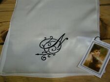 Victorian Trading Co. Heirloom N Monogrammed White Silk Scarf