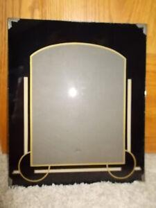 "HTF Vintage Art Deco Reverse Painted Glass Photo Frame Black & Gold 10"" x 12"""