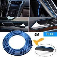 5M Car Accessories Universal Interior Gap Decorative Strip Blue Chrome Glossy