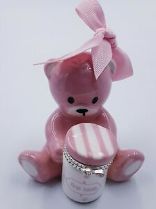 Mud Pie Princess Pink Bear ceramic First Tooth Holder Girl Pink trinket box binP