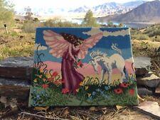 VTG🌈 Unicorn Fairy Rainbow Needlepoint Wall Art Mythical Painting Large Custom