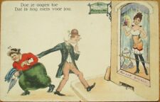Risque 1910 Postcard: Prostitute in Window, Woman Dragging Husband Away