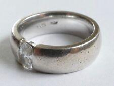 Ring Solitär Edelstein Zirkonia Silber 925 Vintage 80er ring