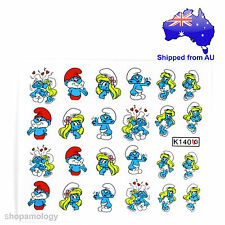 Smurf Kissing Nail Art Water Transfer Decal