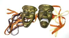 Vintage Solid Thick Brass Mask Tragedy and Comedy Very Good Condition!