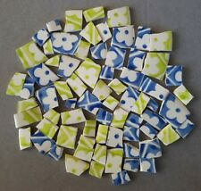 Retro Lime And Blue Flowers Mosaic Tiles
