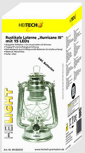 Heitech Rustikale LED Laterne Hurricane III mit 15 LEDs inkl. 4 Mignon Batterien