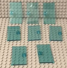 Lego X8 New Trans-light Blue Glass Door 1x4x6 With Stud Handle Parts Lot