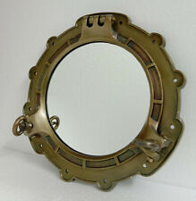 "15"" Aluminum Porthole Mirror ~ Antique Brass ~ Nautical Maritime Decor ~"