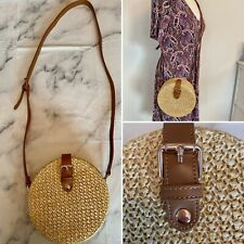 Round Straw Basket Crossbody Bag With Magnetic Fastening