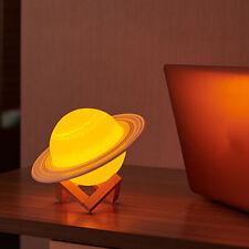 3D Print Saturn LED Lamp USB Night Light Bedroom Decor Rechargeable 3/16 Colors