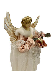 Christmas Angel Standing Victorian traditional Lace Satin Pastel  Gift Holiday