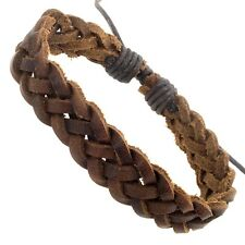 Mens Real Brown Braided Leather Surf Surfer Wristband Bracelet Urban  Braided