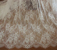 Off White Chantilly Bridal Lace Fabric Costume Dress Wedding Veiling 300cm Long