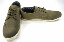 Ben Sherman Shoes Nick Brogue Lo Suede Stone Grey Oxfords Size 9.5 EUR 42.5