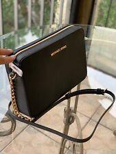 Michael Kors Medium Large Purse Leather Crossbody Bag Handbag Black Gold Chain